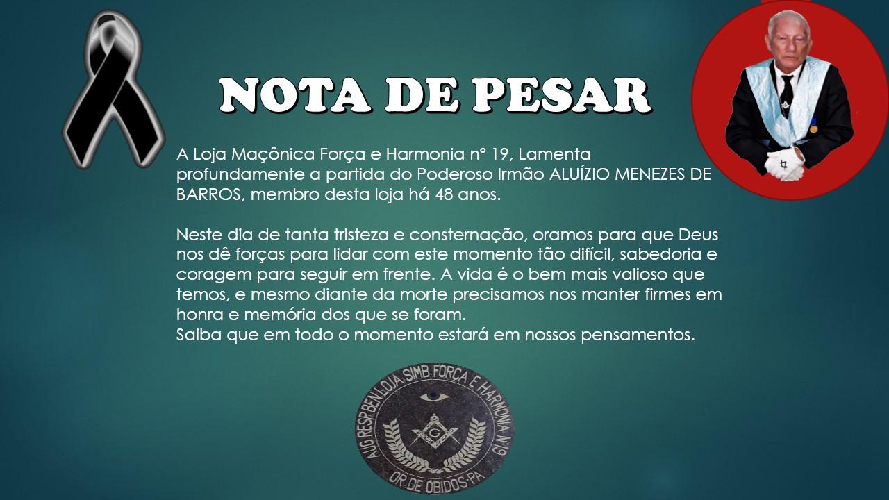 Loja Maçônica de Óbidos- Nota de Pesar pelo Falecimento de Aluízio Menezes de Barros