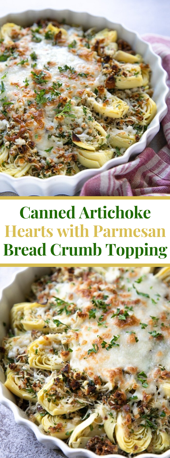 CANNED ARTICHOKE HEARTS WITH PARMESAN BREADCRUMB TOPPING #vegetarian #appetizers