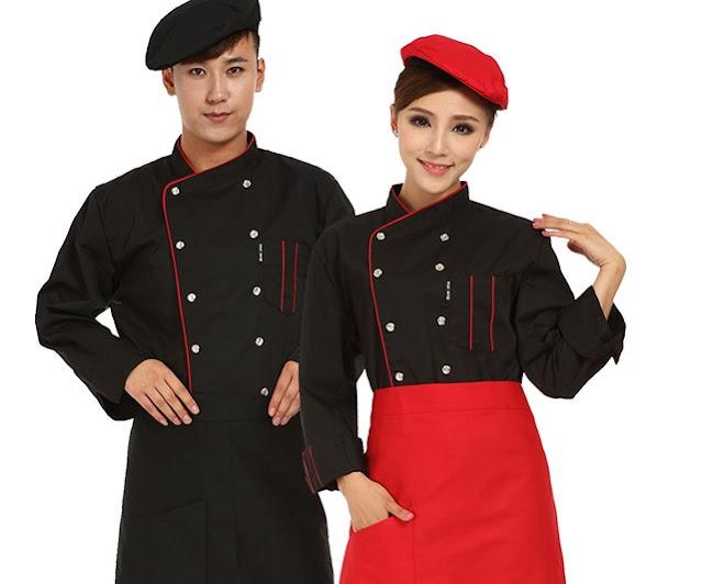 Đồng phục bếp theo phong cách Âu Mỹ sẽ có màu đen
