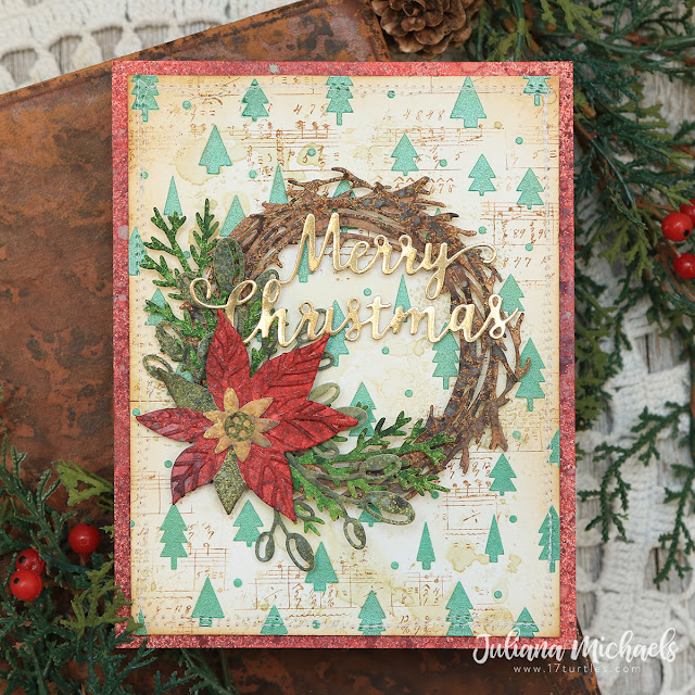 Merry Christmas Card by Juliana Michaels featuring Scrapbook.com Merry Christmas Die and Pops of Color