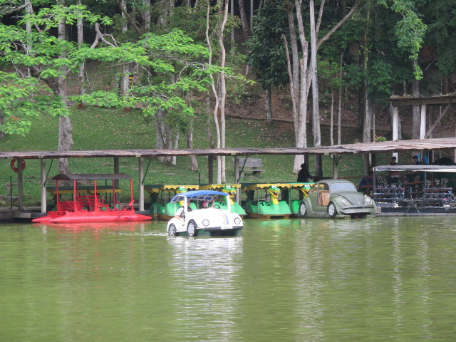 Lake with pedal boats in the park.