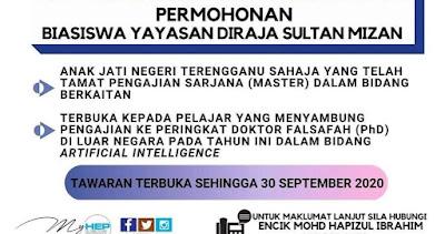 Permohonan Biasiswa Yayasan Diraja Sultan Mizan 2020 Online (Semakan Status)