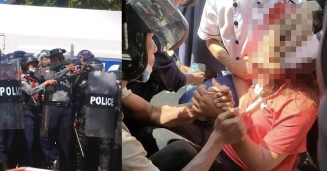 Demo Besar-besaran Tolak Kudeta Militer Myanmar, Seorang Wanita Ditembak Polisi di Kepala