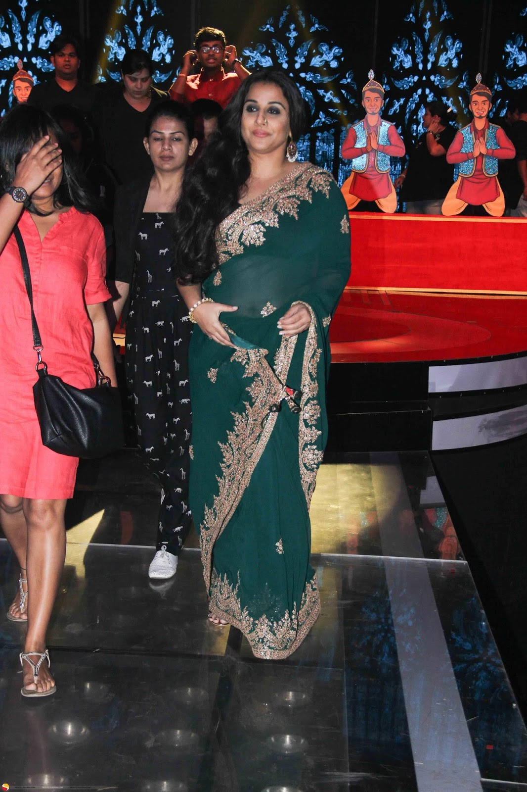 Vidya Balan Long Hair Photos In Green Saree At Film Promotion