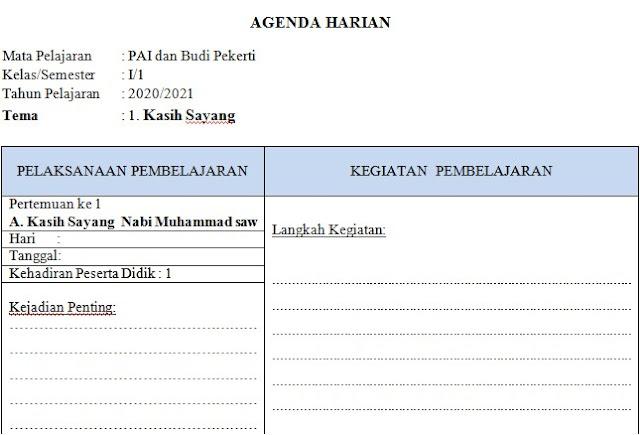 Agenda Harian Guru PAI SD/MI Semester 1 Kurikulum 2013 Kelas 1 SD/MI Tahun 2020/2021 - Guru Krebet 3