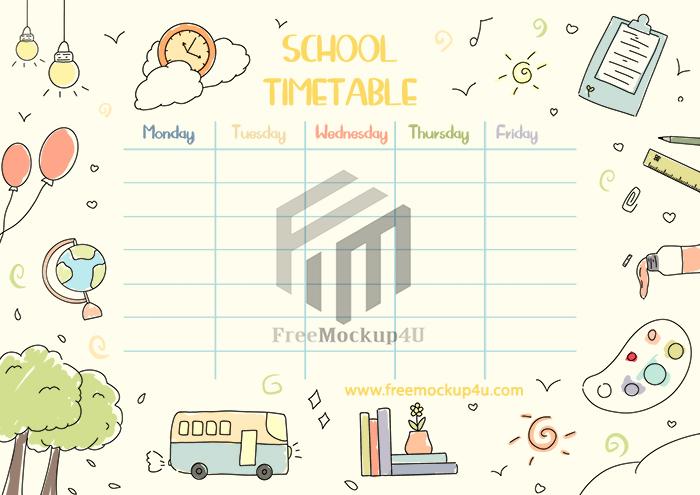School Cute Class Schedule Template