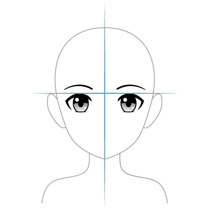 Memposisikan mata anime di kepala