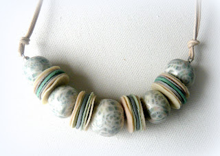 Polymer clay thong necklace featuring my seashell cane