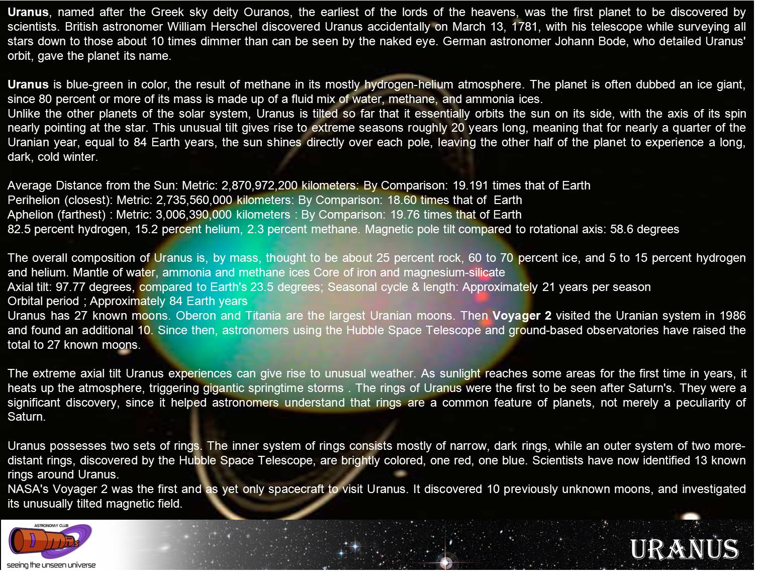 DMR'S ASTRONOMY CLUB: Solar System: Facts about Uranus