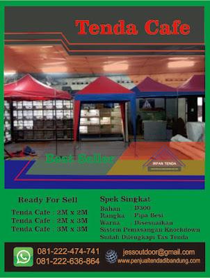 Harga Tenda Cafe Tersedia dalam Ukuran 2M x 2M // 2M x 3M // 3M x 3M.