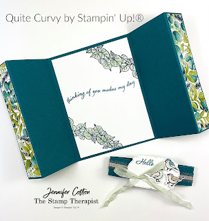 Quite Curvy/Curvy Celebrations by Stampin' Up!® This card is a gate fold.  Click on the photo to go to the blog and see the video.  #StampinUp #StampTherapist