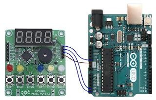 Detalle dos cables de conexión por I2C entre Picuino e Arduino