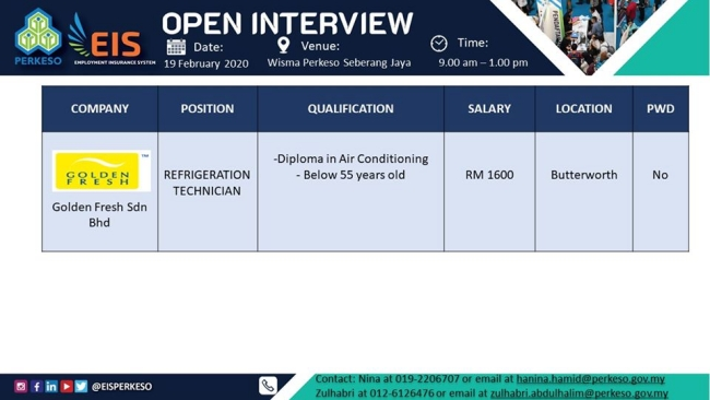 Temuduga Terbuka di Wisma Perkeso Seberang Jaya Februari 2020
