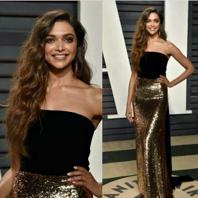 Deepika Padukone In Black and Gold Outfit For Oscars after party