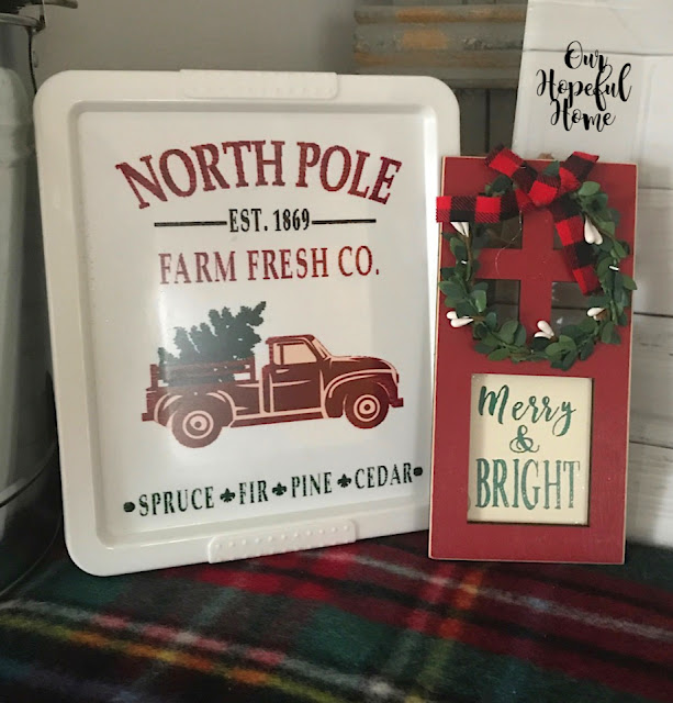plastic Christmas storage box Merry & Bright door sign