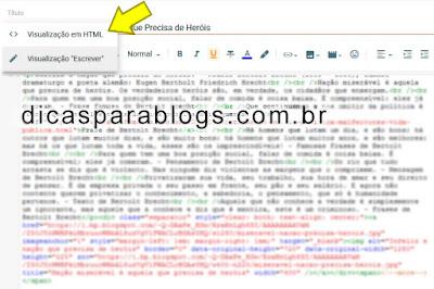 modo escrever e editar html na postagem