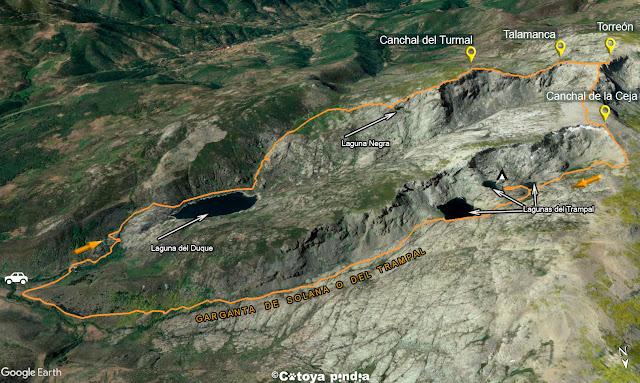 Mapa 3D con la ruta señalizada al las Laguna del Duque y del Trampal pasando por el Torreón y el Canchal de la Ceja