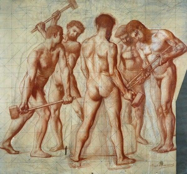 Pierre Puvis de Chavannes (1824-1898) Étude préparatoire pour Le Travail ; Les Forgerons, vers 1863 Sanguine et rehauts de gouache blanche, sur esquisse au crayon noir ; mis au carreau au crayon noir Musée Bonnat-Helleu Bayonne