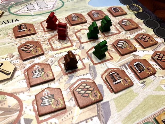 Construction area in Trajan board game Renegade Game Studios, Board game review, photo by Benjamin Kocher