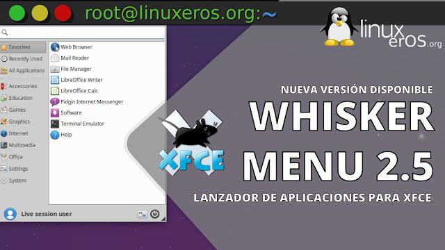 Whisker Menu 2.5 lanzado con compatibilidad con Xfce 4.16