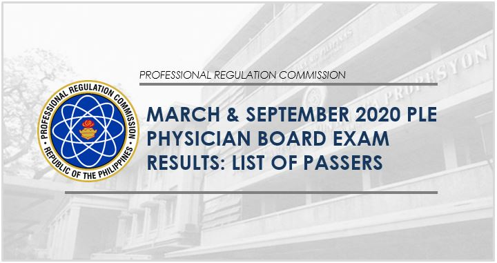 PLE LIST OF PASSERS: March & September 2020 Physician board exam result