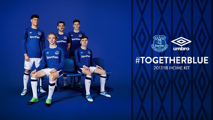 16f9b442bcb The new Everton 2017-18 home kit has been revealed today along new main  sponsor SportPesa. Once again, the Everton 17-18 jerseys are produced by  Umbro, ...