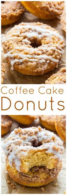 Coffee Cake Donuts with Vanilla Glaze