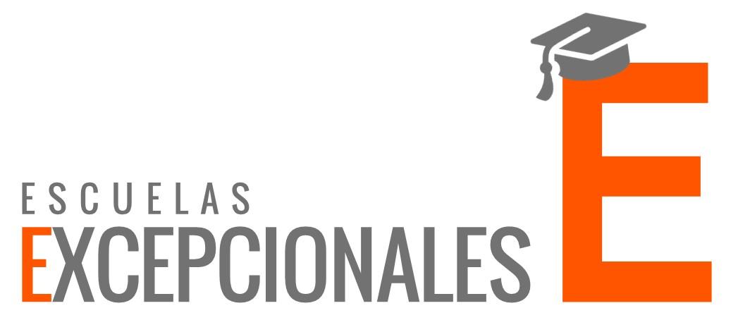 Logotipo de Escuelas Excepcionales con una E en color naranja y un gorro de graduado encima de la letra