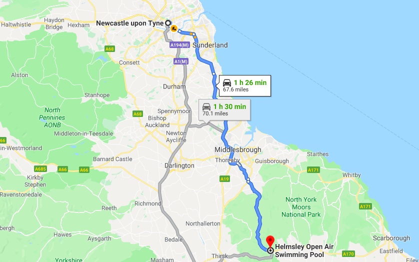 5 Outdoor Swimming Pools within a 2 Hour Drive of Newcastle  - Helmsley Pool map