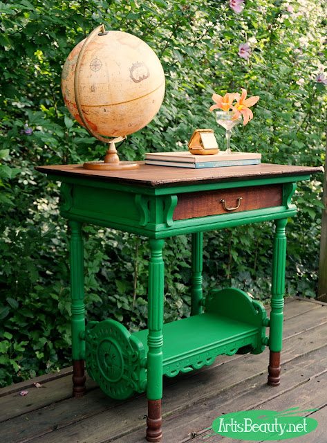 emerald green wicked the musical inspired library table makeover before and after