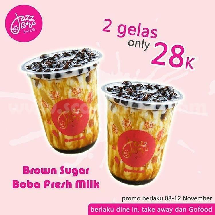 Jazz Boba Promo Brown Sugar Boba Beli 2 gelas hanya Rp 28rb*