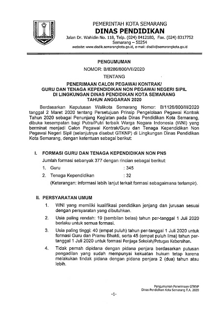 Penerimaan Calon Pegawai Kontrak Guru dan Tenaga Kependidikan di Lingkungan Dinas Pendidikan Kota Semarang