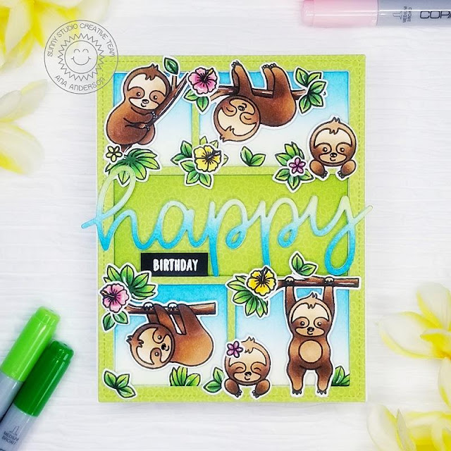 Sunny Studio Stamps: Silly Sloths Comic Strip Everyday Dies Happy Word Die Birthday Card by Ana Anderson