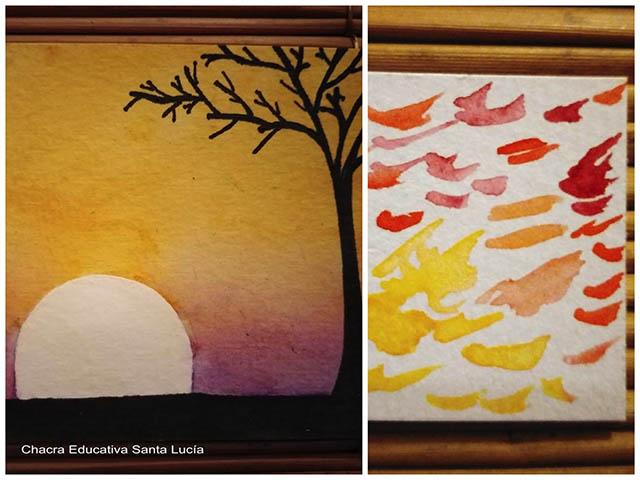 dibujo de atardecer/ paleta de colores de acuarela -Chacra Educativa Santa Lucía