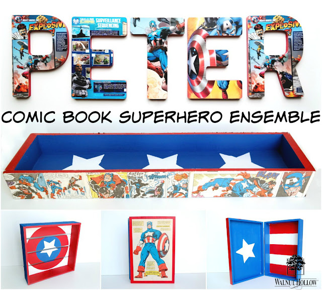Comic Book Superhero Boys Room Decoupaged Wood Ensemble by Dana Tatar