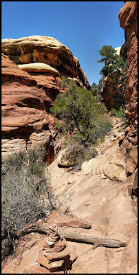 Coming out of a Slot Canyon on Chelser Park Canyonlands Needles District