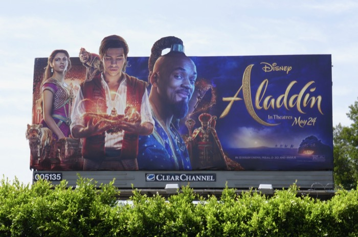 Aladdin movie cut-out billboard