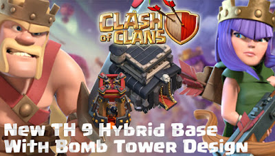Base Hybrid TH 9 COC Update Bomb Tower Terbaru 2017