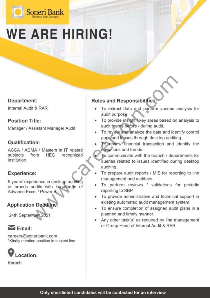 careers@soneribank.com - Soneri Bank Jobs 2021 in Pakistan