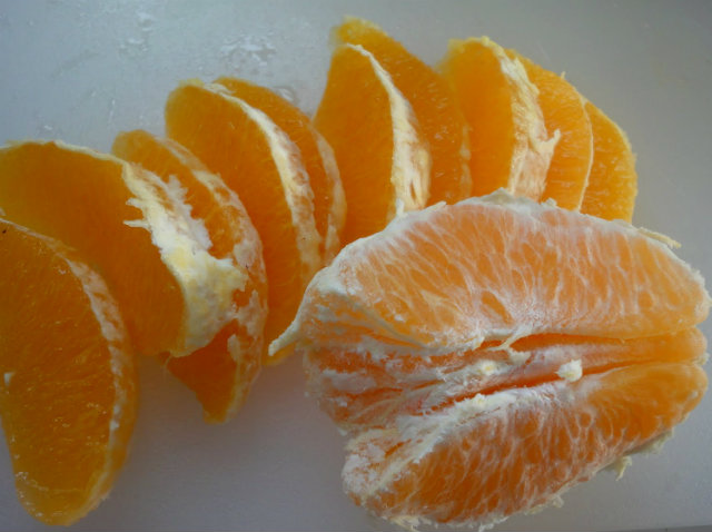peeled and sliced orange