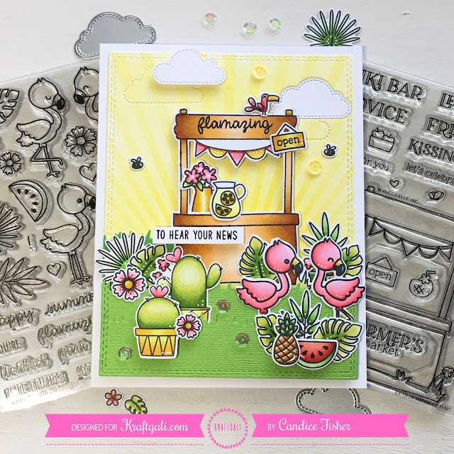 Sunny Studio Stamps: Fabulous Flamingos Fluffy Clouds Customer Card by Candice Fisher