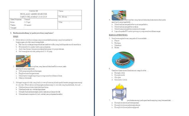 Soal PAS Kelas 3 SD/MI: Tema 6