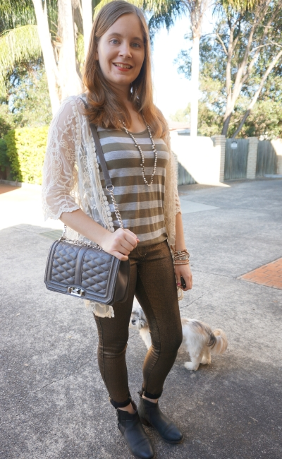 lace kimono, striped olive tank, metallic gold Sass & Bide skinny jeans RM Love bag | AwayFromBlue