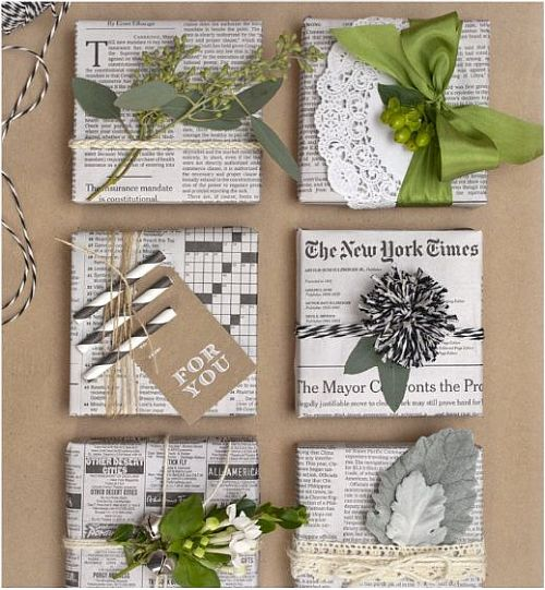 eco-friendly newspaper wrapping with different tops