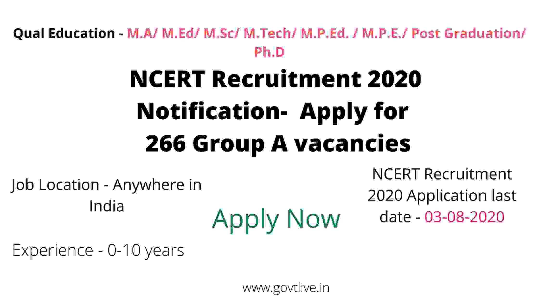 NCERT Recruitment 2020 Notification-  Apply for  266 Group A vacancies