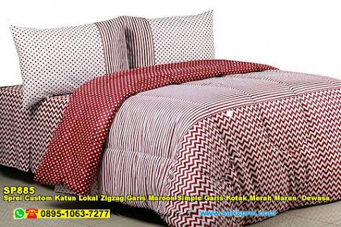 Sprei Custom Katun Lokal Zigzag Garis Maroon Simple Garis Kotak Merah Marun  Dewasa