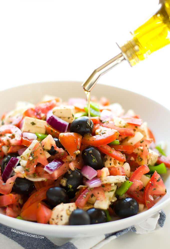Vegan Greek Salad | danceofstoves.com #danceofstoves