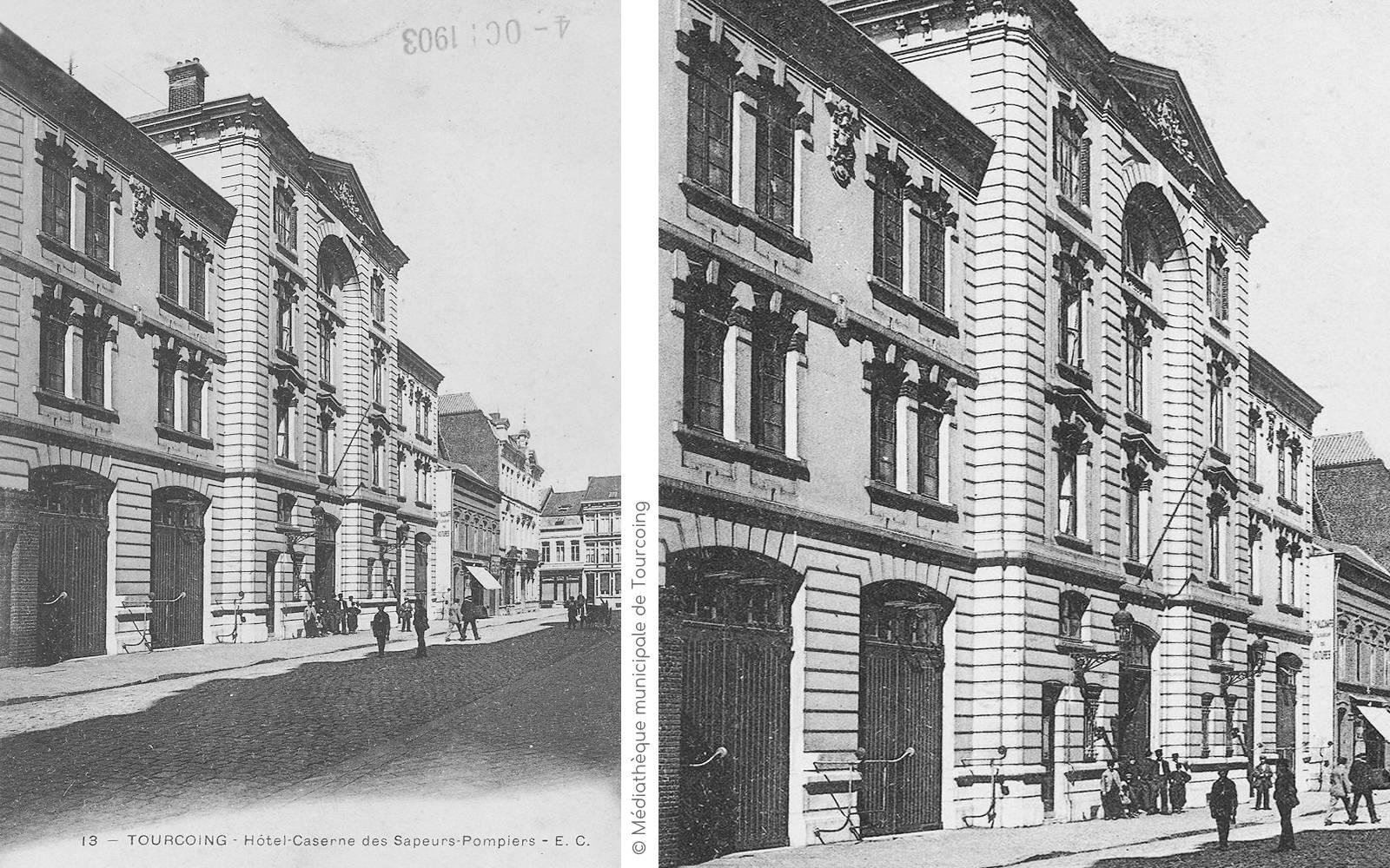 CPA - Hôtel-Caserne des Pompiers de Tourcoing.