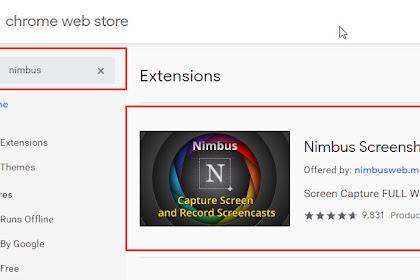 Nimbus Extensions Google Chrome Untuk Screenshot Halaman Web Secara Full/Penuh