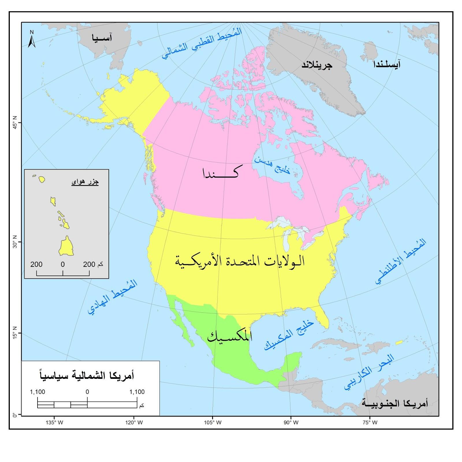 خريطة أمريكا الشمالية سياسيا